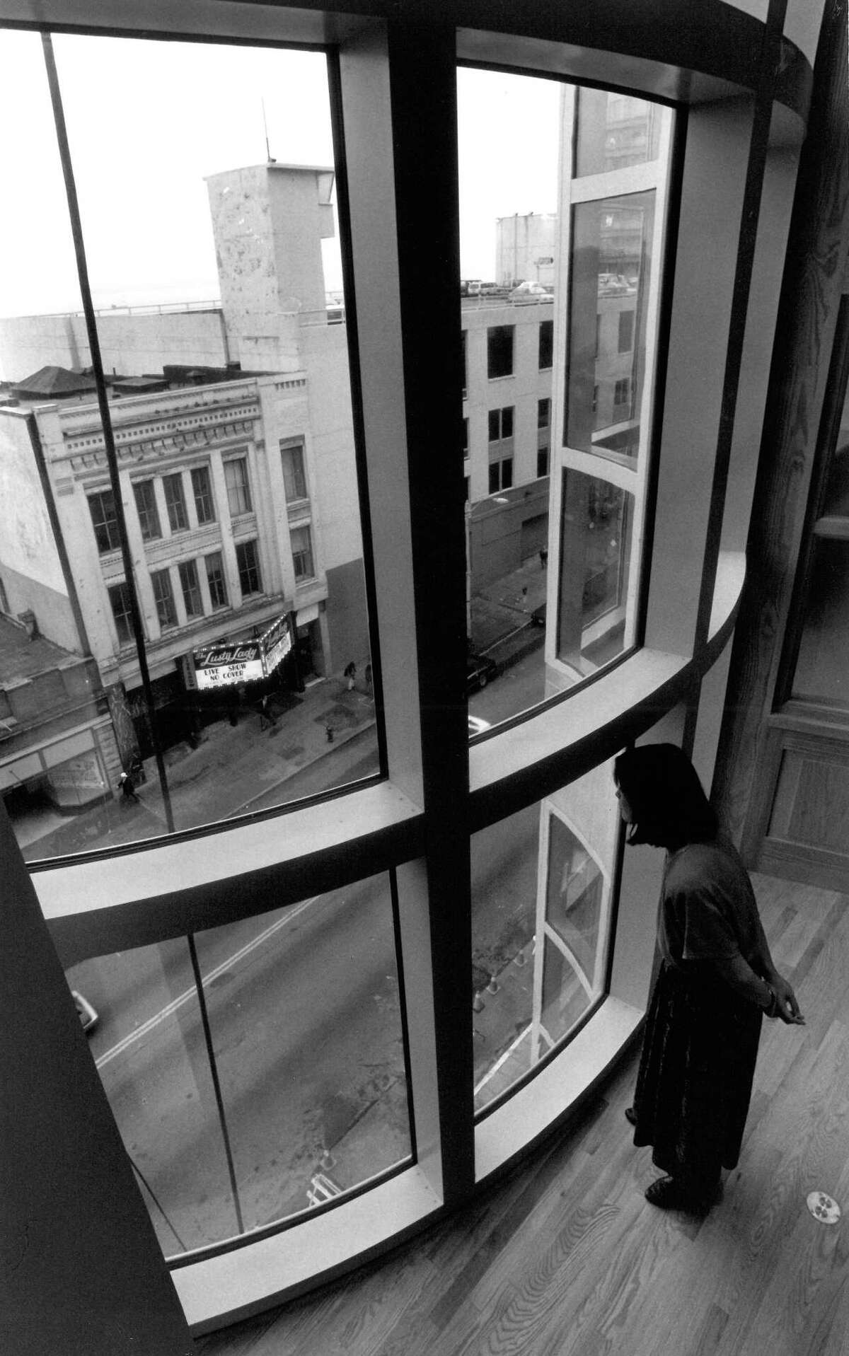 A view of the Lusty Lady from the Seattle Art Museum.