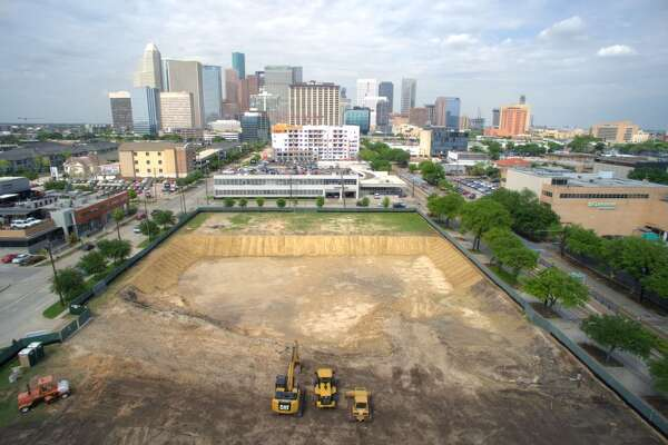 Aerial view of the construction site that will become Midtown Park.