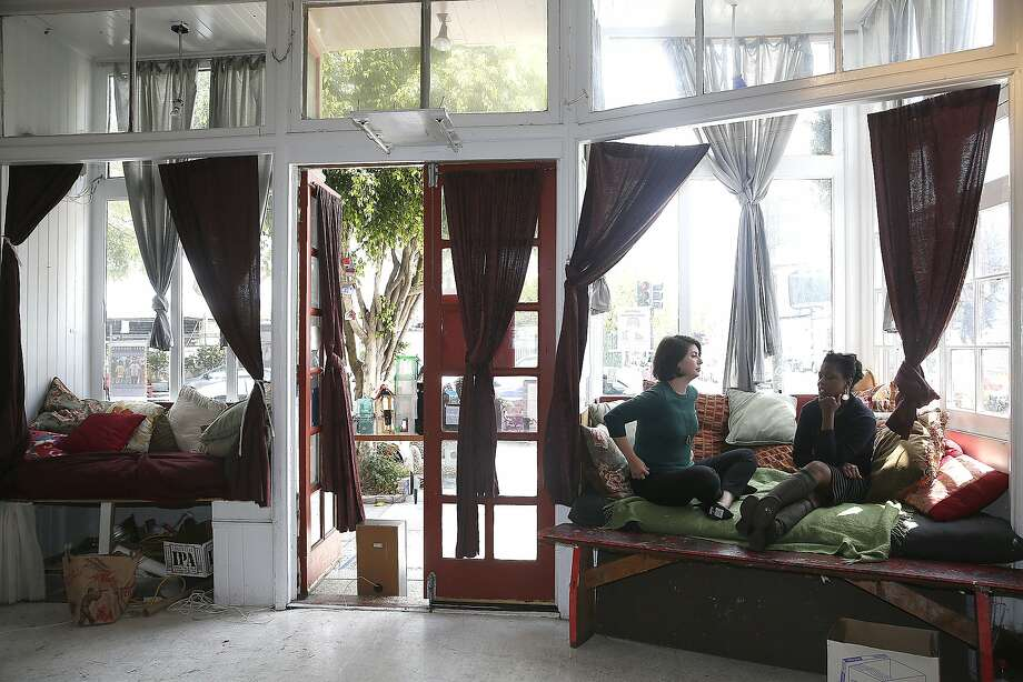 Co-founders Ebony McKinney (far right) and Lex Leifheit (right) of Arts for a Better Bay Area, a nonprofit that advocates support for art organizations, meet at the Red Poppy Art House in San Francisco, California, on Thursday, May 28, 2015. Photo: Liz Hafalia, The Chronicle