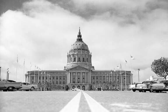 Feb. 1948: A view from the street of San Francisco City Hall.