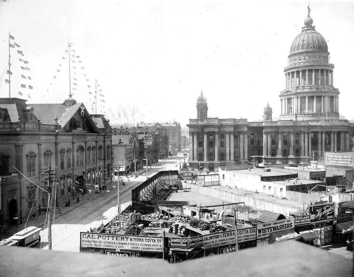 Early 1900s: A historical photo of old San Francisco City Hall from the Wyland Stanley collection. The building, built in 1899, was demolished after the 1906 Earthquake.