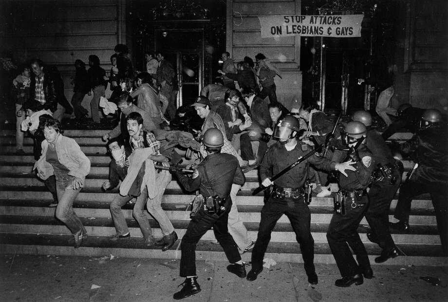 The White Night Riots roiled City Hall with protests after former Supervisor Dan White, who gunned down Mayor George Moscone and Supervisor Harvey Milk, was found guilty only of manslaughter rather than murder in May 1979. Photo: John Storey, The Chronicle