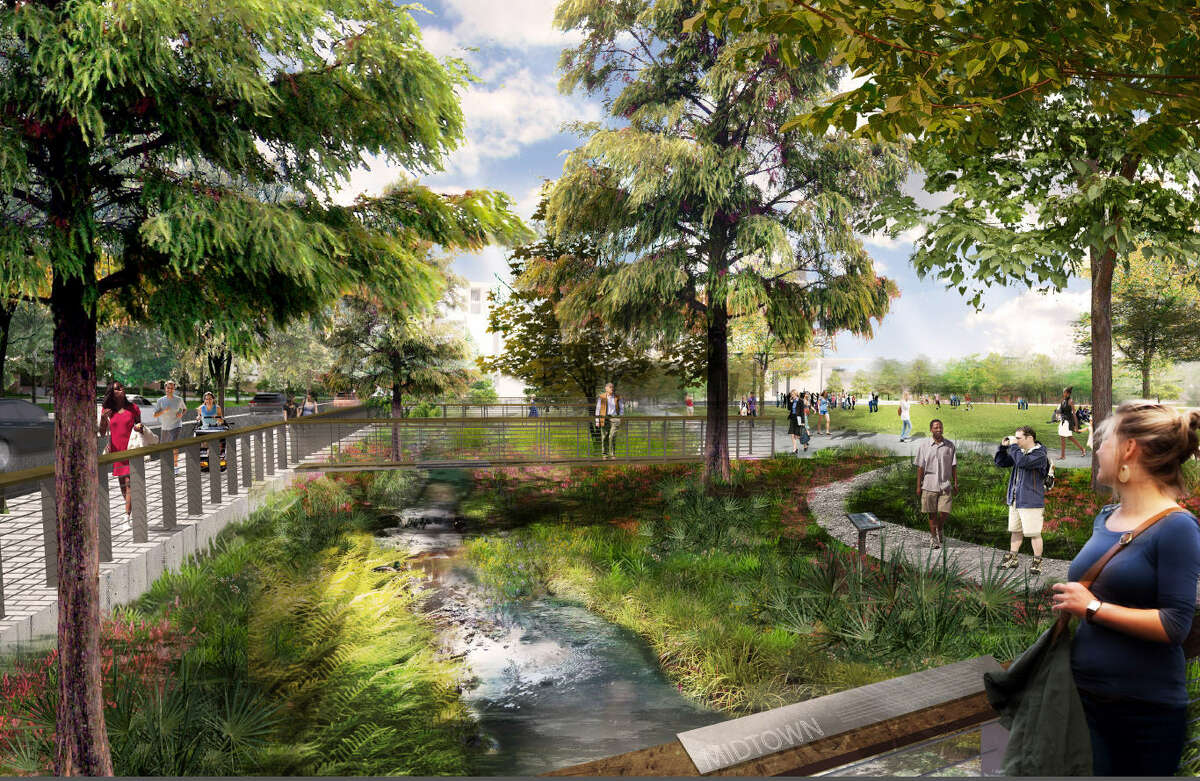 This rendering shows Midtown Park, a mixed-use area that will have an artificial bayou, a concert pavilion and residential areas.