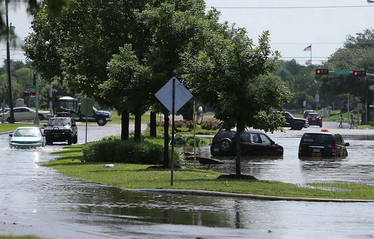 South Braeswood is shown flooded by Brays Bayou, which overflowed its banks and flooded nearby neighborhoods.