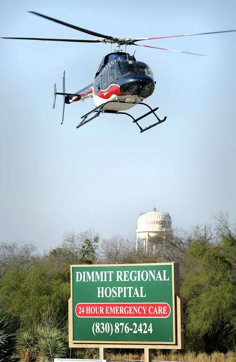 An Air Evac helicopter takes off from its pad next to Dimmit County Regional Hospital. Methodist Healthcare CEO Kevin Moriarty said emergency response in remote areas of South Texas can take an hour or two. Photo: Express-News File Photo / © 2012 San Antonio Express-News