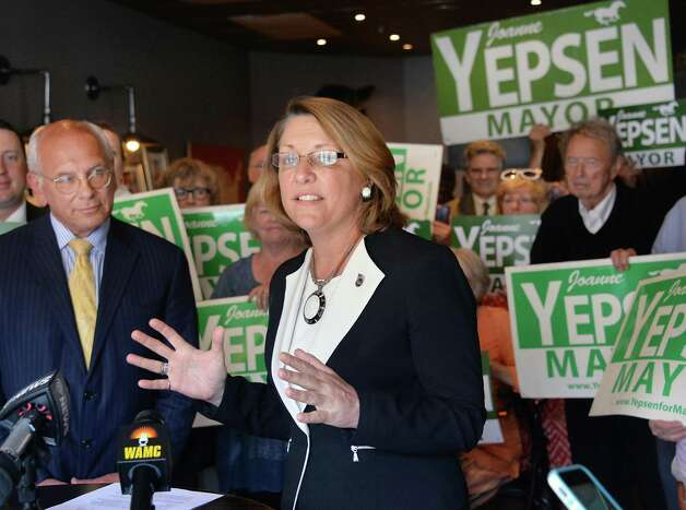 Saratoga Springs Mayor Joanne Yepsen, center, is joined by Congressman Paul Tonko, left, as she announces her re-election campaign Thursday, May 28, 2015, at a news conference in Saratoga Springs, N.Y.  (John Carl D'Annibale / Times Union) Photo: John Carl D'Annibale / 00032042A