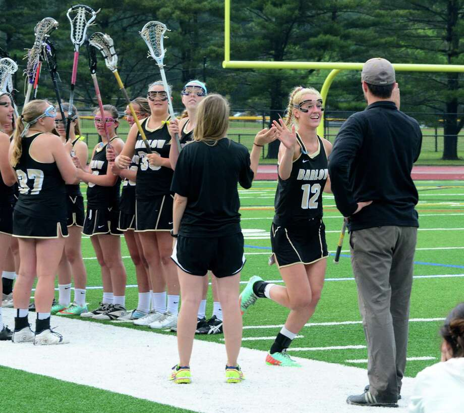 Joel Barlow High School and New Fairfield High School play against each other at Joel Barlow in the SWC Division 1 girls lacrosse finals on Thursday, May 28, 2015. Photo: Lisa Weir / The News-Times Freelance