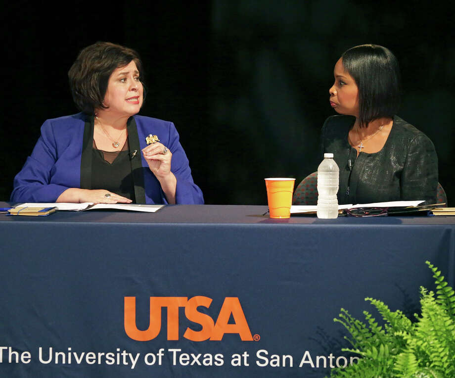 Ivy Taylor and Leticia Van de Putte face off in a one-on-one debate in the Buena Vista Theater at UTSA downtown on May 28, 2015. Photo: Tom Reel, San Antonio Express-News