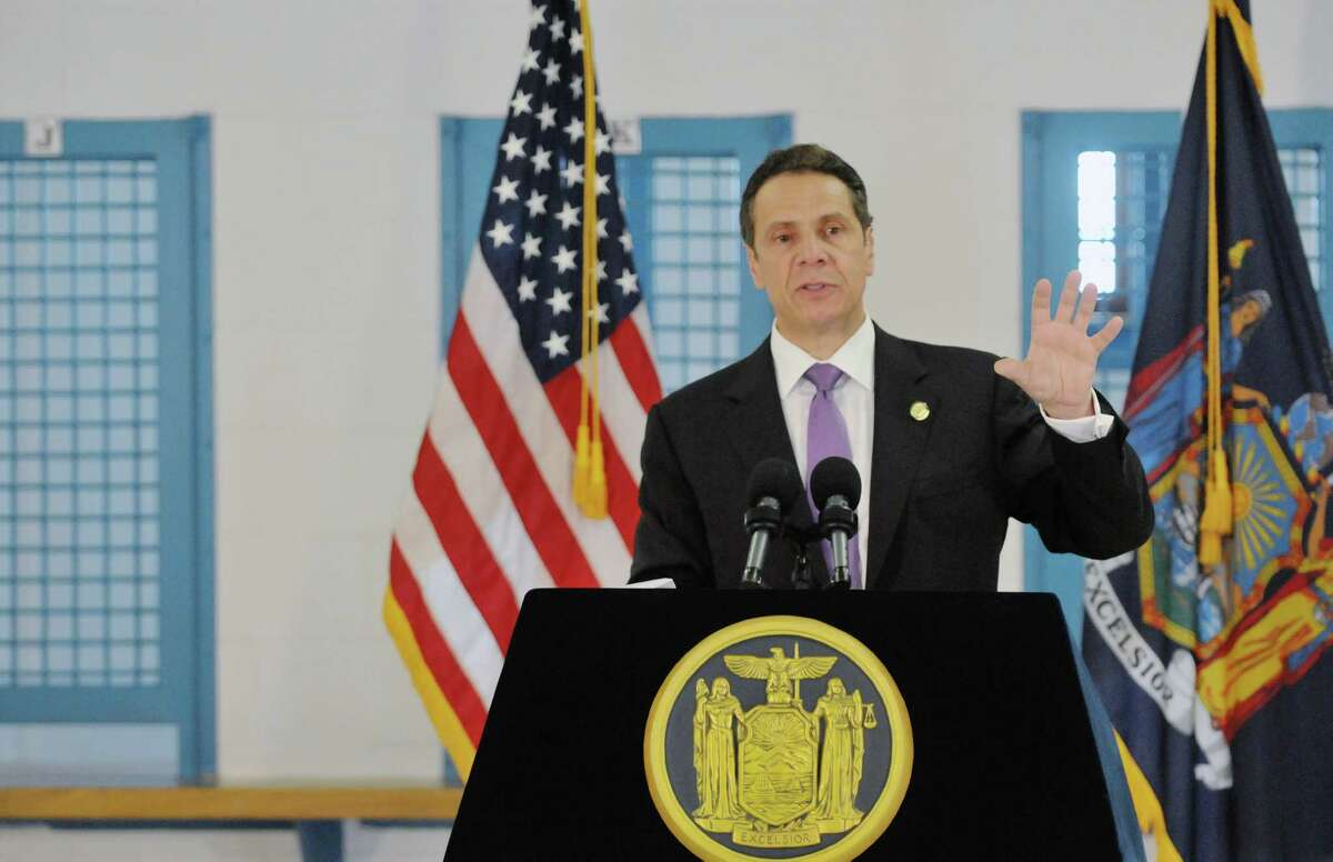 Governor Andrew Cuomo talks about the incarceration of 16 and 17 year olds during a press conference following a tour the Governor took at the Greene Correctional Facility on Thursday, May 28, 2015, in Coxsackie, N.Y. (Paul Buckowski / Times Union)