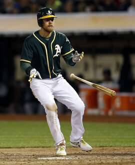 Oakland Athletics' Ben Zobrist walks with the bases loaded forcing in the go-ahead run in 7th inning against New York Yankees during MLB game at O.co Coliseum in Oakland, Calif., on Thursday, May 28, 2015.