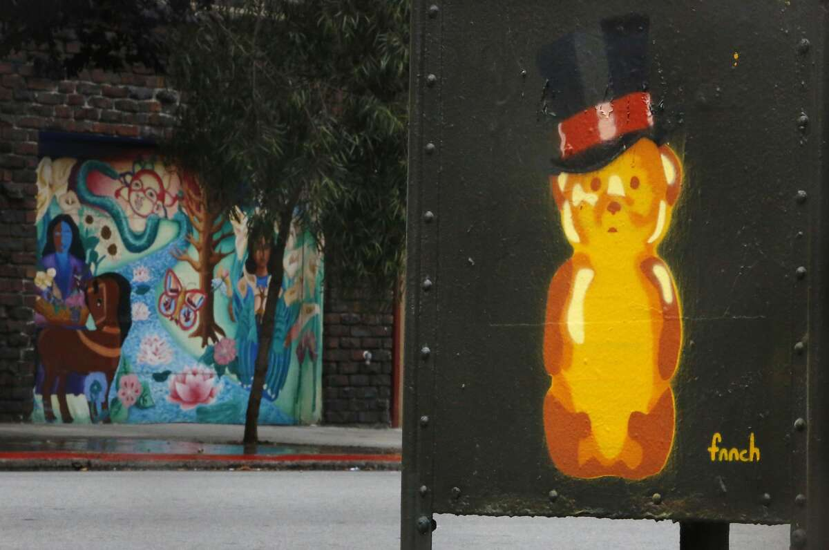 A honey bear on a mailbox by street artist Fnnch is seen on the corner of 19th and Lexington Streets on Wednesday, May 27, 2015 in San Francisco, Calif.