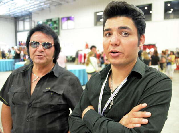 Father and son Elvis tribute artists Sam Calleri, left, and Paul Calleri during the Elvis Festival at the Lake George Forum Friday May 30, 2014, in Lake George, NY.  (John Carl D'Annibale / Times Union) Photo: John Carl D'Annibale / 00027108A