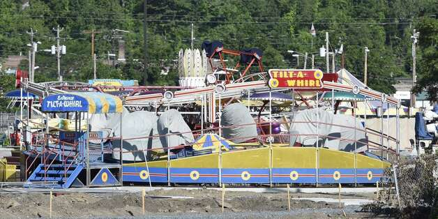 Construction is moving forward at Huck Finn's Playland in Albany on May 29, 2015. (Skip Dickstein/Times Union)