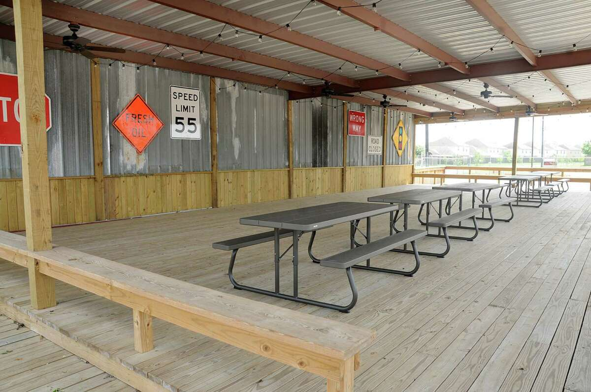 The outdoor patio at Bernie's Backyard, 22310 I-45 N in Spring, a food truck park that will open soon. Photograph by David Hopper.