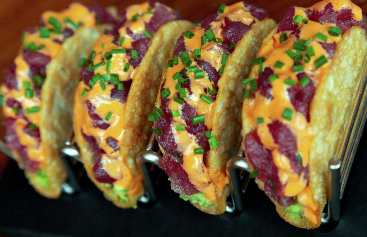 Ahi Tacos at Del Frisco's Grille at Hughes Landing in The Woodlands, Texas.