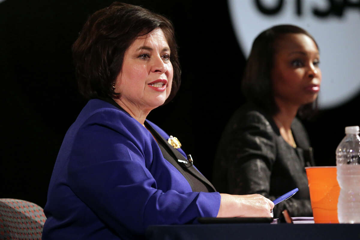 Ivy Taylor and Leticia Van de Putte face off in a one-on-one debate in the Buena Vista Theater at UTSA downtown on May 28, 2015.