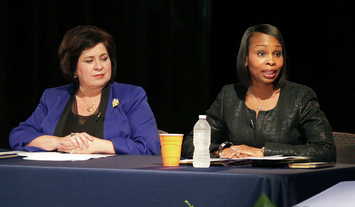 Ivy Taylor and Leticia Van de Putte, shown here in a debate in May, are in Saturday's runoff for mayor.