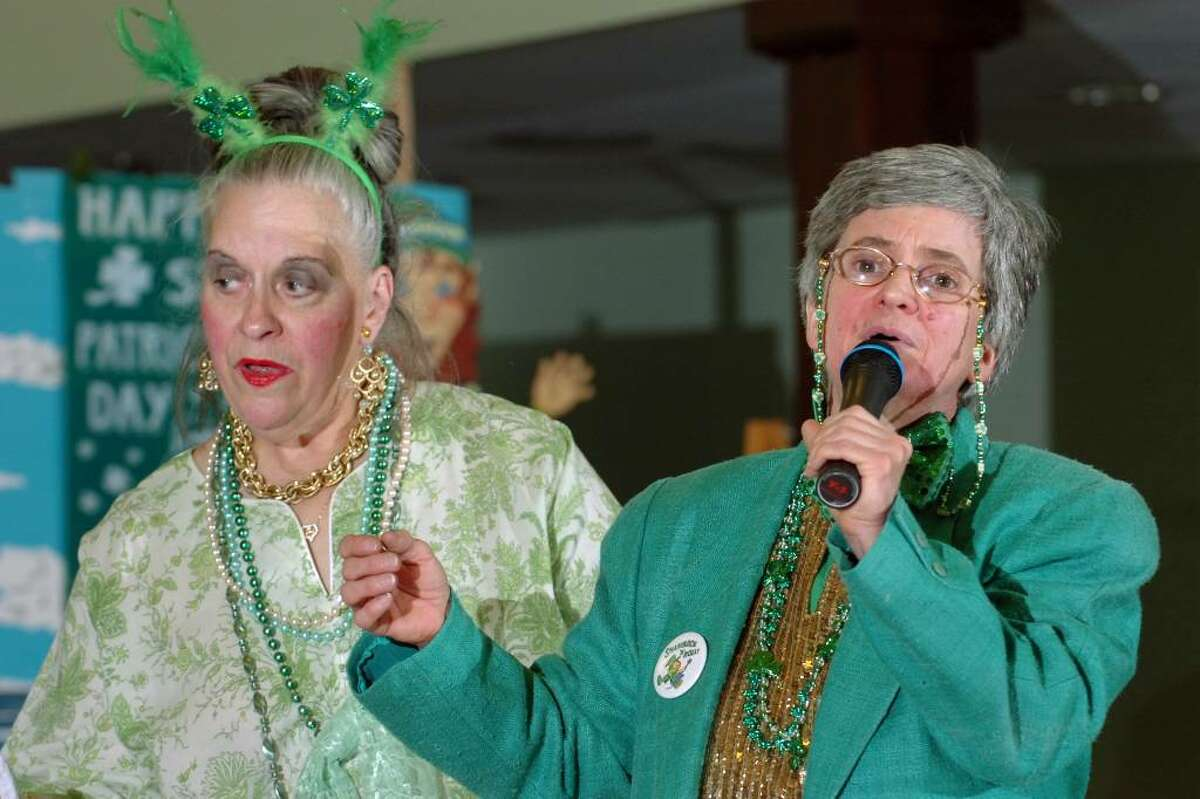 Nichole Doolittle (left) and Shirley Backus sing as the Baldwin Players presented their St. Pat's Folly performance at the Baldwin Center, in Stratford, Conn. Friday, March 12th, 2010.