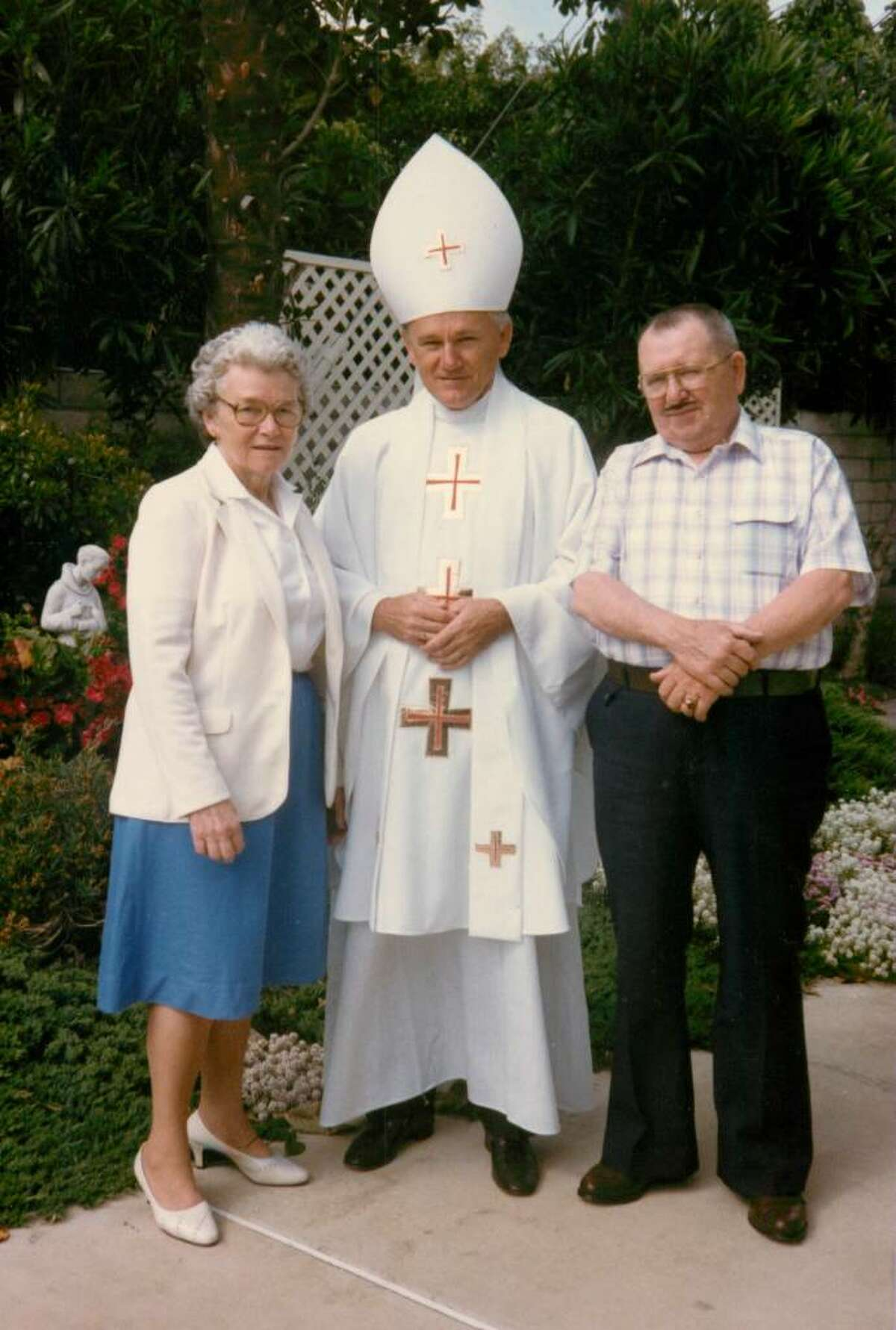 Eugene Greytak, a Trumbull native who recently died, was impersonator of Pope John Paul II. This photo was photo with his sister Jean Andrejko and her husband Mac Andrejko on a visit to California. Jean is now 94 years old and still lives in Stratford.