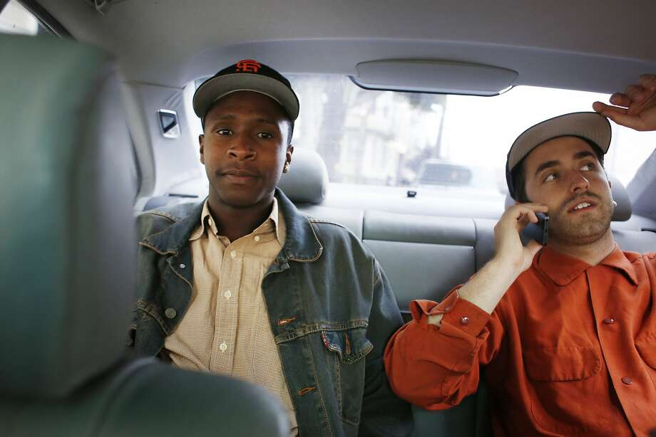 Moments from making their $50,000 goal on Kickstarter, masterminds behind The Last Black man in San Francisco Jimmie Fails co-writer and actor and Joe Talbot, co-writer and director, drive home on Friday May 22, 2015 in San Francisco, Calif. Photo: Mike Kepka, The Chronicle