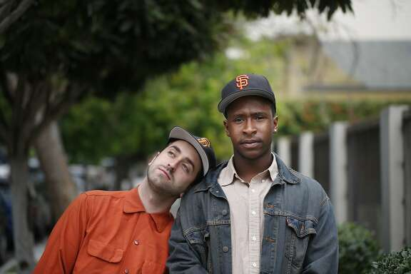 Masterminds behind The Last Black man in San Francisco Joe Talbot, co-writer and director, and Jimmie Fails, co-writer and actor, stand in San Francisco's Precita Park on Friday May 22, 2015 where they first became friends 14 years ago.