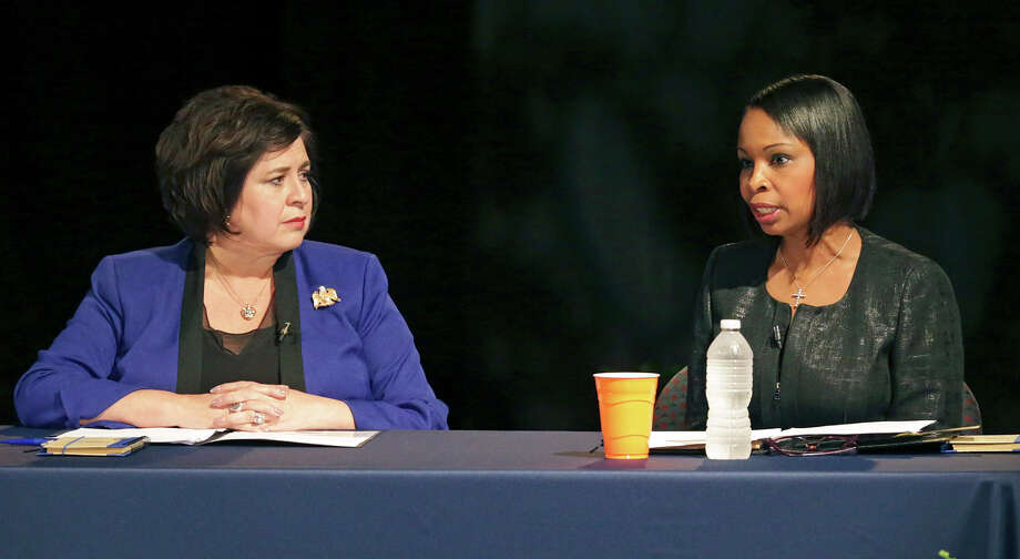 Ivy Taylor and Leticia Van de Putte face off in a one-on-one debate in the Buena Vista Theater at UTSA downtown on May 28, 2015. Photo: Tom Reel / San Antonio Express-News