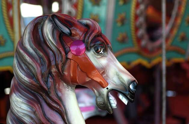 One of the merry-go-round horses heads looks like new after some renovation work at the Huck Finn's Playland work continues on the site north of Huck Finn's Warehouse Friday afternoon May 29, 2015 in Albany, N.Y.    (Skip Dickstein/Times Union) Photo: SKIP DICKSTEIN / 00032077A