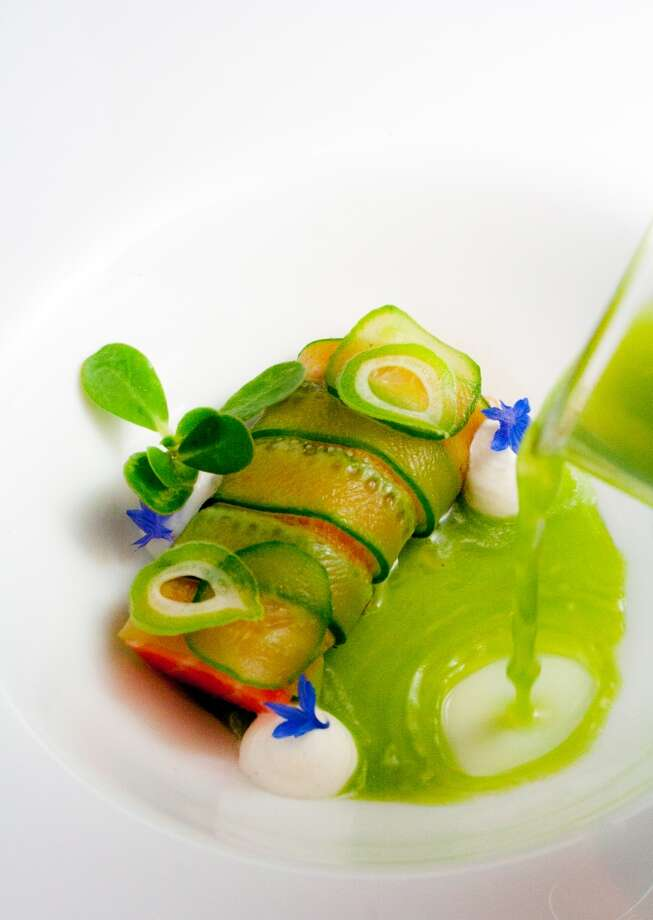 Lazy Bear: Poached and chilled local king salmon, wrapped in salted Persian cucumber and served with a cucumber and lemon verbena dashi, horseradish crème fraiche and green tomato relish Photo: Lazy Bear