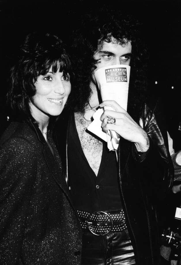 Singer Cher and musician Gene Simmons attending the premiere of the movie 'Kramer vs Kramer', December 1979. Photo: Frank Edwards, Getty Images