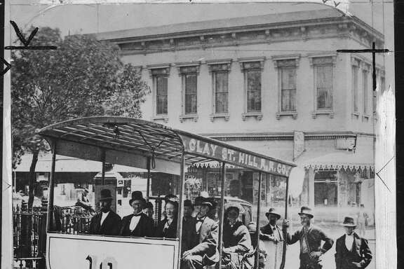 Andrew Smith Hallidie and the first cable car Photo ran 10/18/1948, 12/28/1952 Back of photo identifies Hallidie as man with plug hat in front Courtesy of State Library  Handout