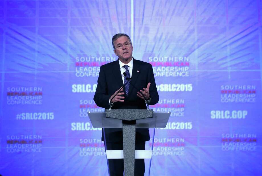 """Republican presidential hopeful Je Bush, shown at the 2015 Southern Republican Leadership Conference recently in Oklahoma City, says those who claim the science is settled on climate change are """"arrogant."""" Photo: Alex Wong /Getty Images / 2015 Getty Images"""