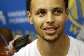 Golden State Warriors' Stephen Curry talks with reporters during practice on Friday, May 29, 2015 in Oakland, Calif.