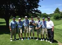 Newtown won the SWC boys golf championship on Friday, May 30, 2015 at Ridgewood Country Club. From left: Assistant coach Bob Patterson, Josh Houle, Jacob Burden, Graham Hubbert, Colin Patrick, Ryan Patrick and coach Bob Flood.
