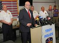 Rensselaer County District Attorney Joel E. Abelove speaks during a press conference at the Troy Police Deptartment to talk about the fire at 520 2nd Avenue on Friday, May 29, 2015 in Troy, N.Y. They are treating the death that happened there earlier this month as a homicide and an arson. Although they know of three suspects that might have been involved in the fire, they are asking for the public's help with any information. (Lori Van Buren / Times Union)