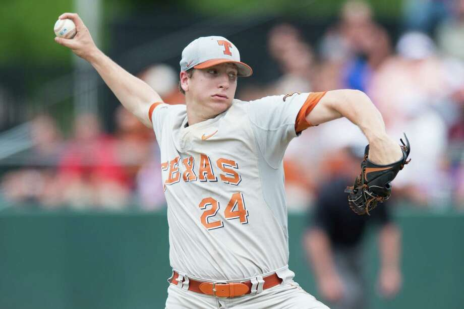 Texas pitcher Parker French pitches during the first inning against Oregon State at the Dallas Regional of the NCAA college baseball tournament in Dallas, Friday, May 29, 2015. Photo: Cooper Neill /Associated Press / FR171332 AP