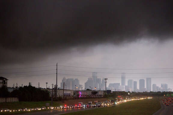 Storm clouds over Houston on Friday.