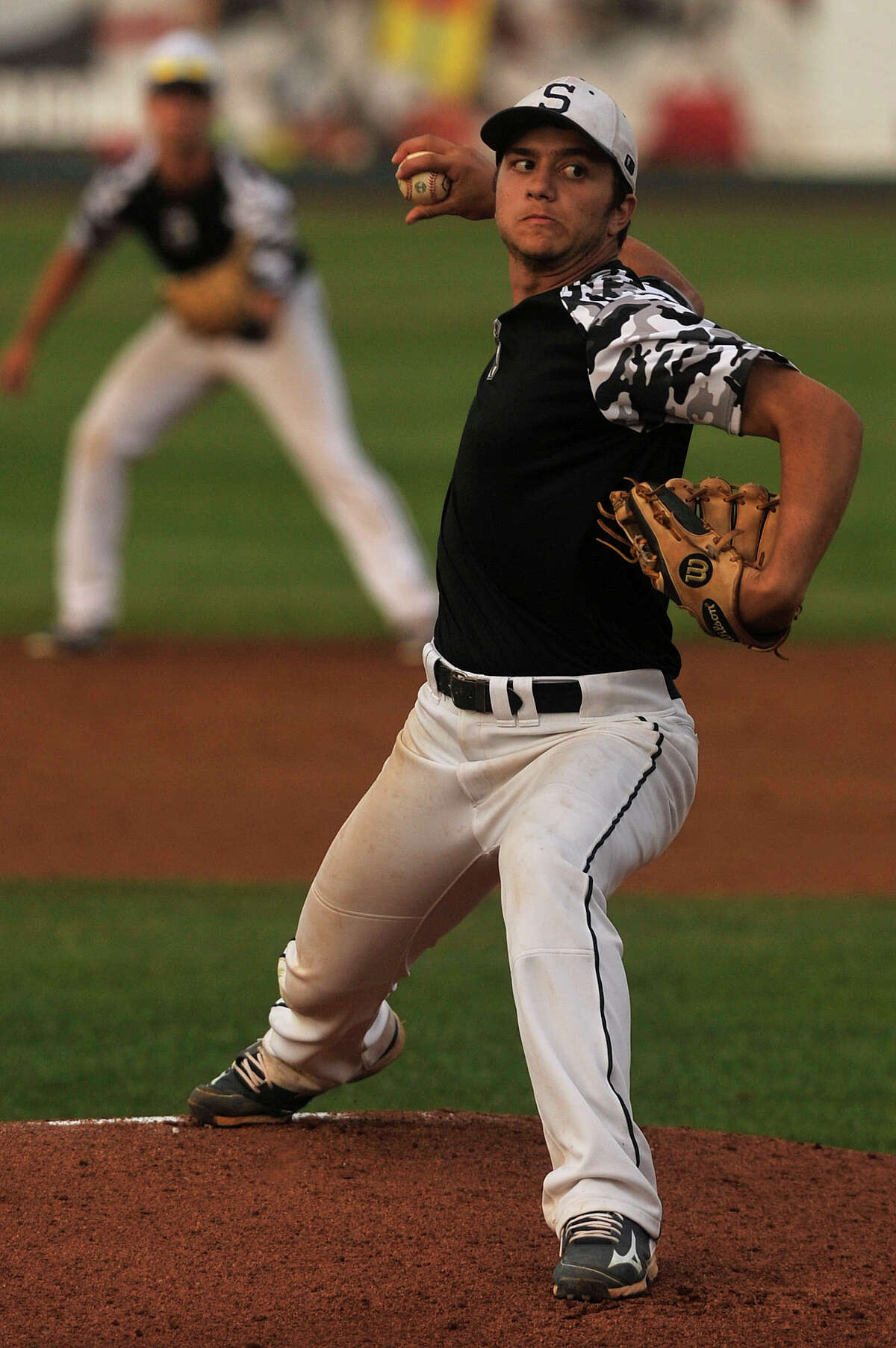 Staples' Marco Latella pitches during the Wreckers' FCIAC championship baseball game against Wilton at Harbor Yard in Bridgeport, Conn., on Friday, May 29, 2015. Wilton won, 1-0, in the eighth.