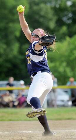 Averill Park's Caraline Wood winds up a pitch during their the Class A softball final against Troy on Friday, May 29, 2015, at Clifton Common in Clifton Park, N.Y. (Cindy Schultz / Times Union) Photo: Cindy Schultz / 00032082A