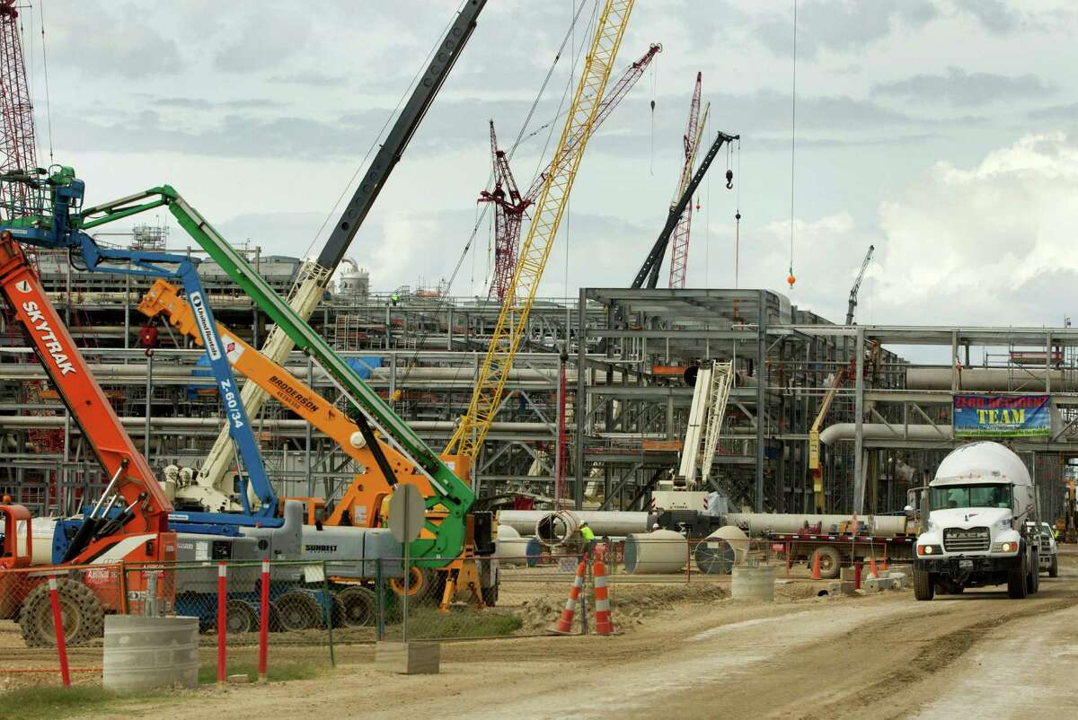 Work crews stack pipe at the Cheniere's Sabine Pass LNG facility Tuesday, Oct. 28, 2014, in Cameron, Louisiana. (J. Patric Schneider / For the Chronicle )