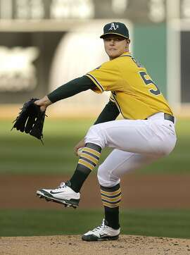 Oakland Athletics' Sonny Gray works against the New York Yankees in the first inning of a baseball game Friday, May 29, 2015, in Oakland, Calif. (AP Photo/Ben Margot)
