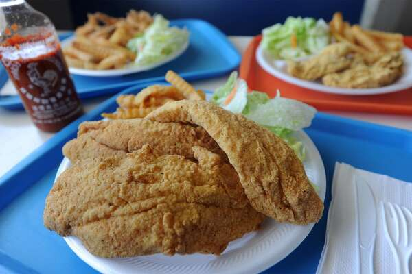 Fried catfish, center, fried shrimp, and fried oyster from P&J Seafood in Groves.  Photo taken Tuesday, May 19, 2015 Guiseppe Barranco/The Enterprise
