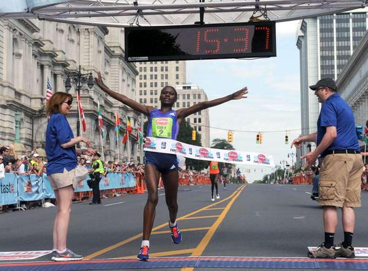 Emily Chebet wins the Freihofer's Run for Women. (Michael Farrell / Times Union)