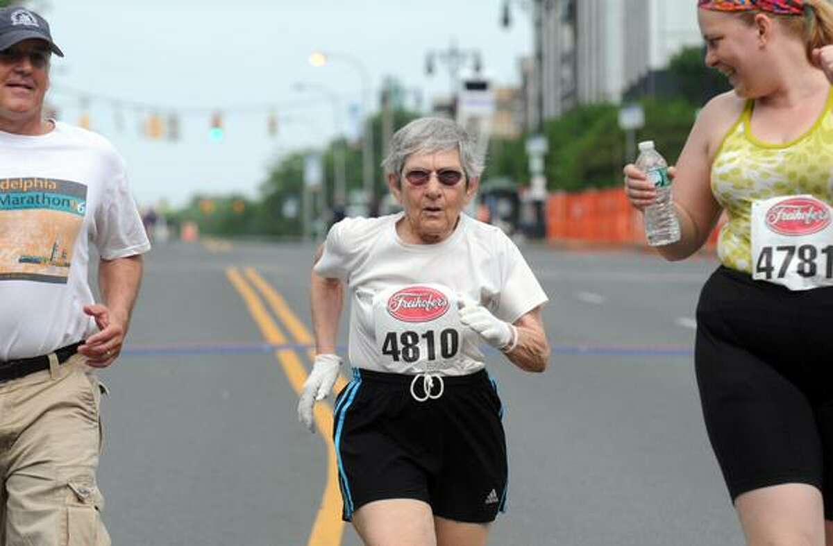 Doris Schlamowitz, 85, finishes the Freihofer's Run for Women. (Michael Farrell / Times Union)