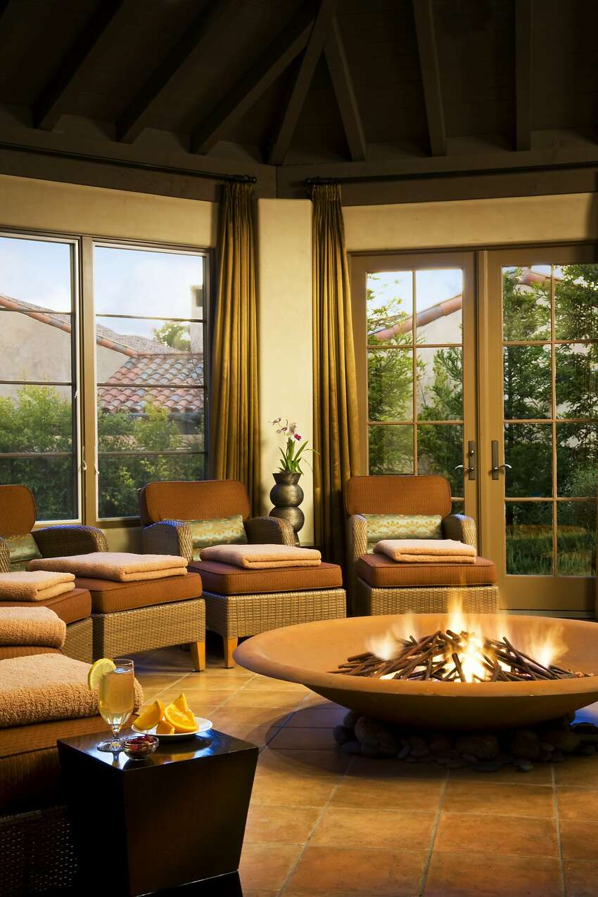 The Spa at Pebble Beach is a great spot to pamper yourself, and despite its lush ambience, you can afford it. Warm up near the fire pit in the Sanctuary, top, or in the hot tub, left.