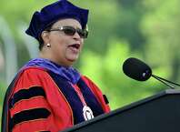 Rensselear Polytechnic Institue President Shirley Ann Jackson speaks during RPI's Commencement Ceremony Saturday May 30, 2015, in Troy N.Y. (Phoebe Sheehan/Special to the Times Union)