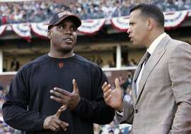 ** FILE ** American League's Alex Rodriguez, right, of the New York Yankees, chats with National League's Barry Bonds, of the San Francisco Giants, during the All-Star Home Run Baseball Derby in San Francisco,  in this July 9, 2007 file photo. (AP Photo/ Jeff Chiu)  Ran on: 11-30-2007 Barry Bonds