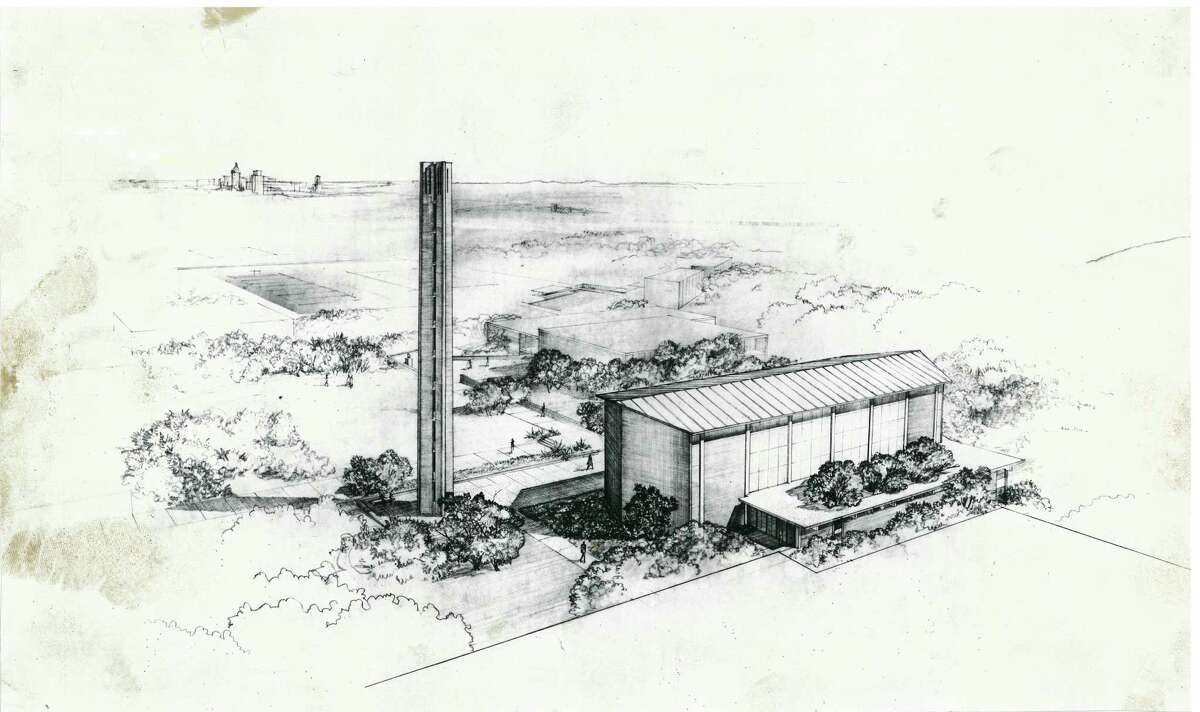 The Trinity campus was built on a 107-acre hilltop with the help of famed architect O'Neill Ford. Here is a rare look at Ford's sketch for Trinity University's tower and chapel, with downtown San Antonio off in the distance.