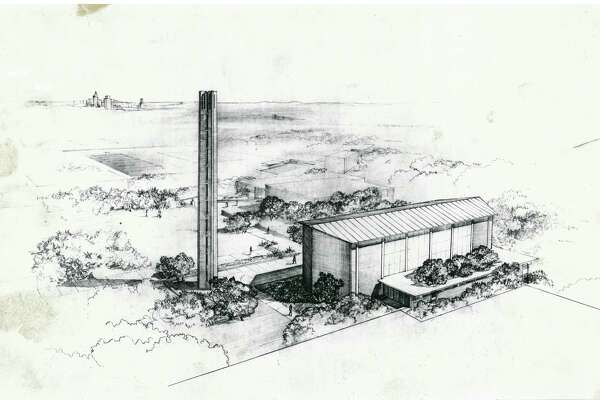 O'Neil Ford sketched a scheme for Trinity University's tower and chapel, with downtown San Antonio off in the distance.