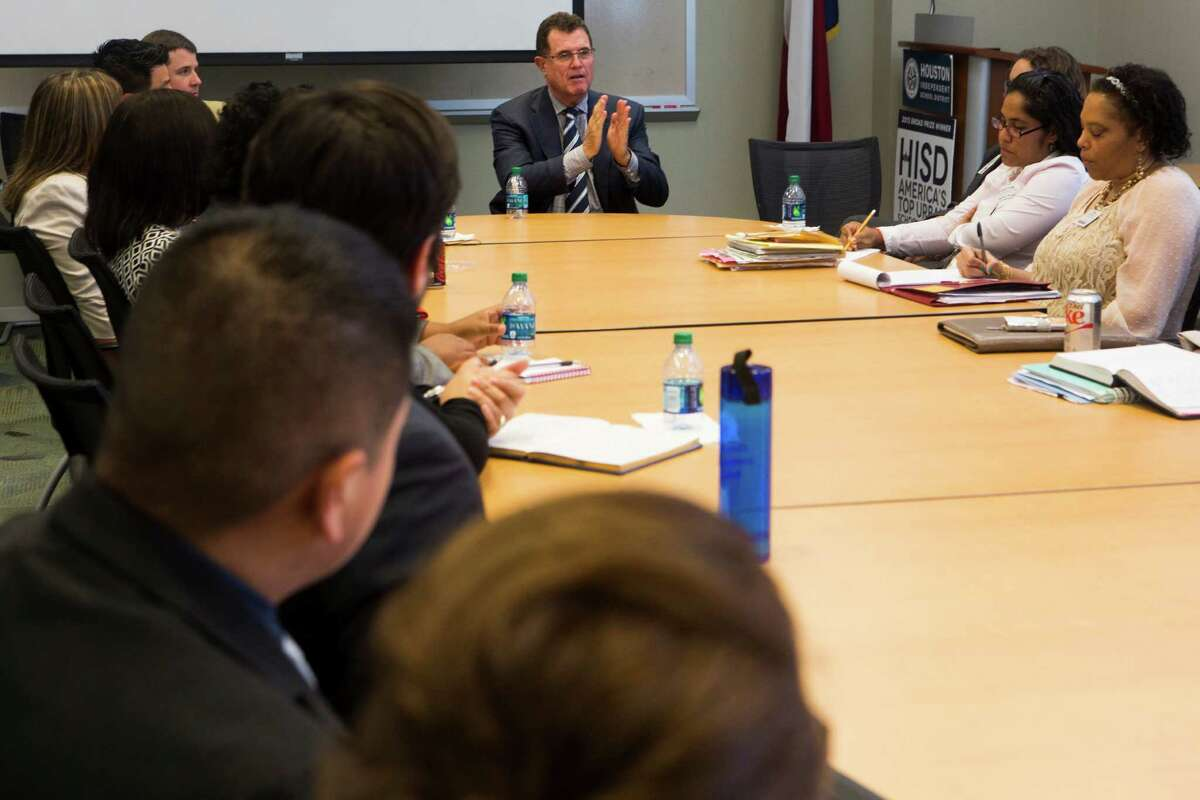 HISD Superinten-dent Terry Grier meets with principals of dual-language schools on May 12 at HISD's central office. Grier acknowledges his programs have had resistance, but says after six years, he's improved issues like graduation rates and is pushing for more success.
