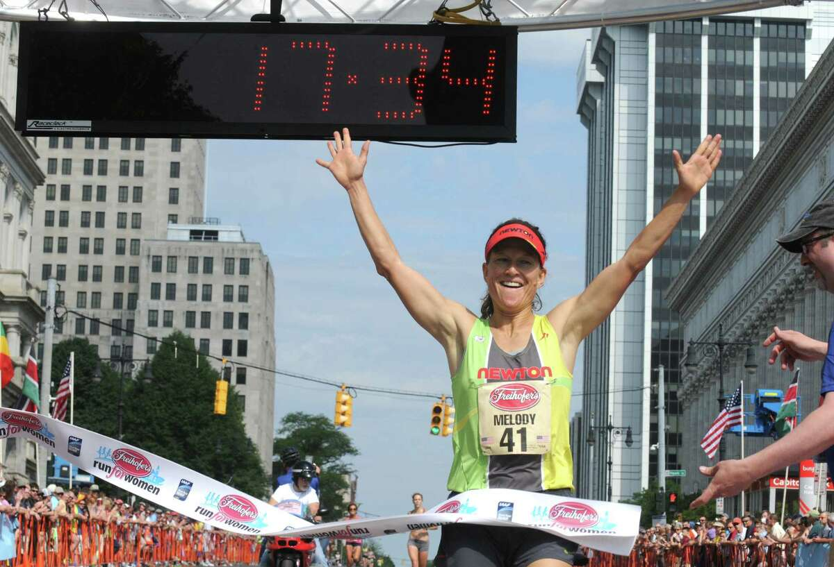 Melody Fairchild wins the Masters division of the 37th Annual Freihofer's Run for Women on Saturday May 30, 2015 in Albany, N.Y. (Michael P. Farrell/Times Union)